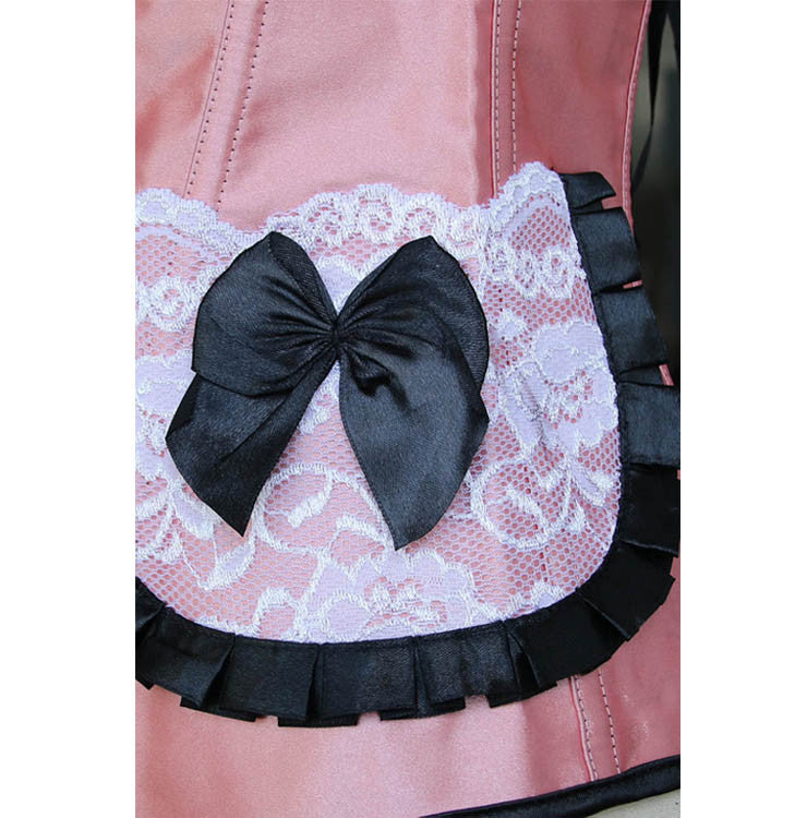 Pleated Lace Trimming Corset Pink