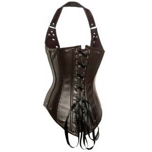 Fashion Brown Halter Steel Boned Punk Underbust Corset