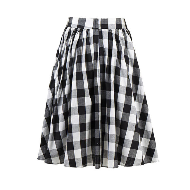Classic Plaid High Waisted Flared Pleated Skater Skirt