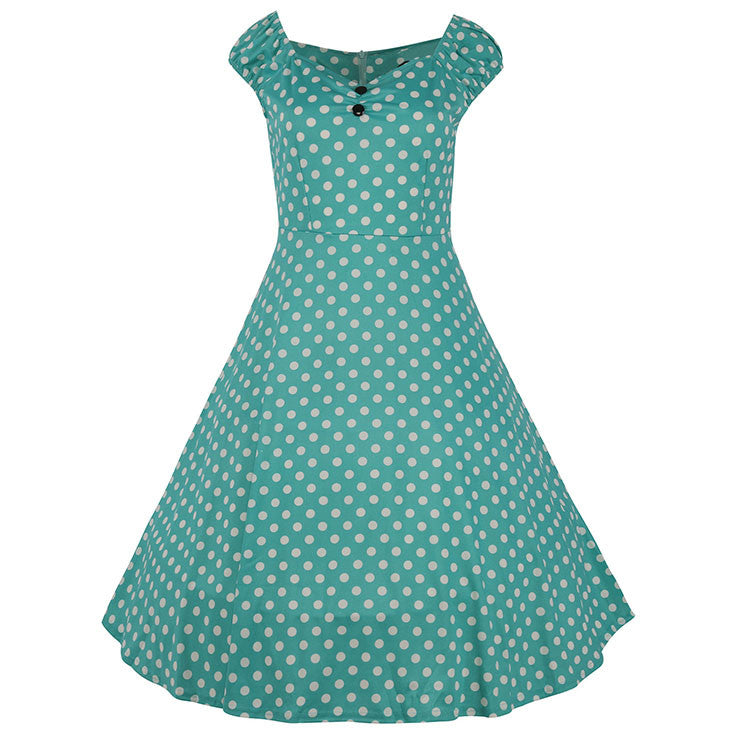 Classical 1950's Vintage Polka Dot Print Casual Dress