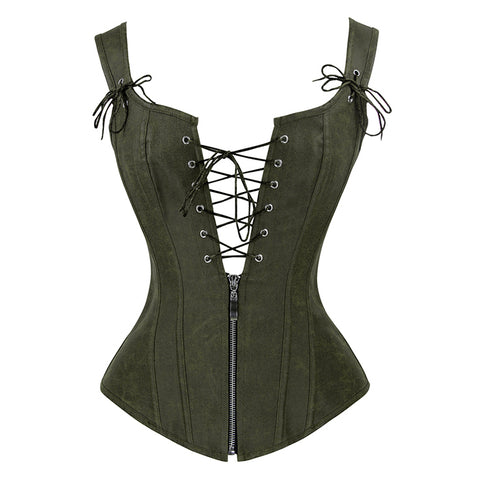 Pixie Polka Dot Burlesque Corset Green