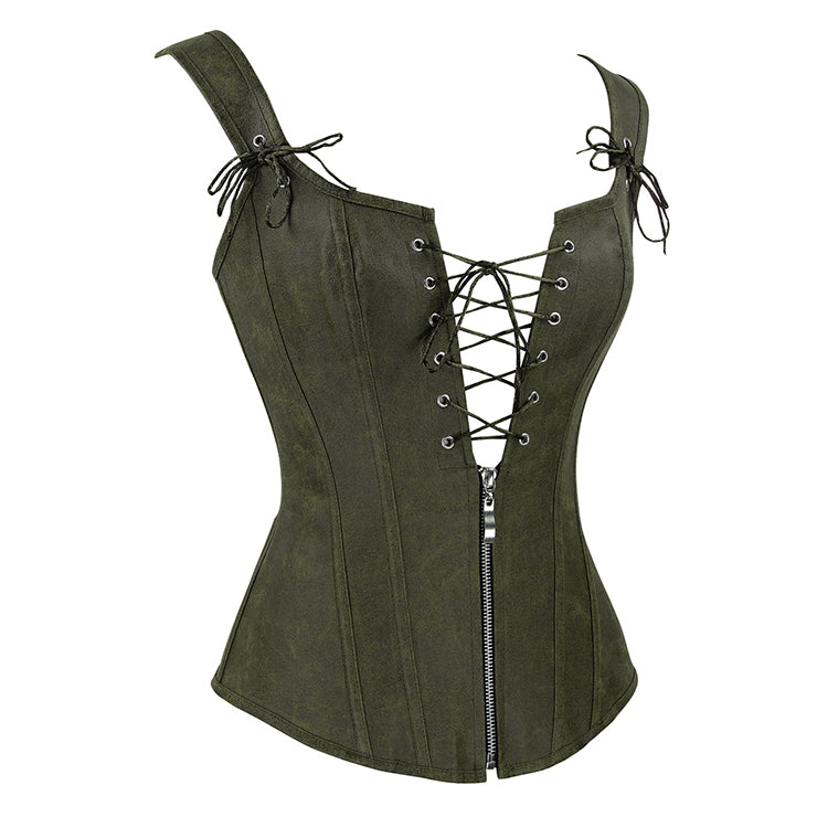 Olive Green Faux Leather Corset