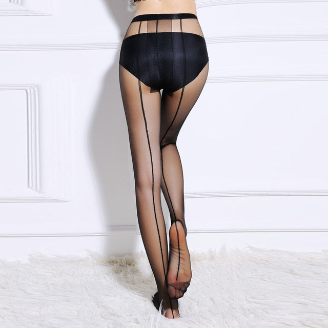 Pin Stripe Stockings | Black, Nude
