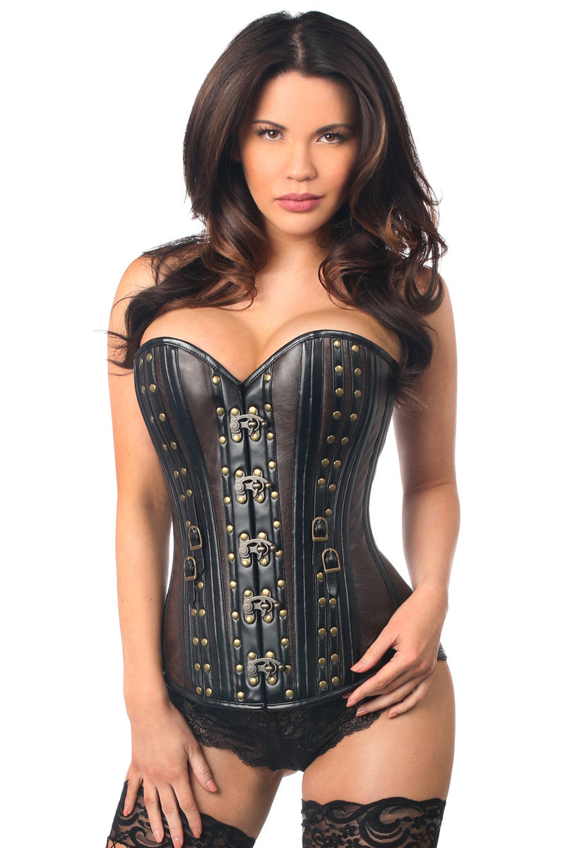 Top Drawer Faux Leather Steel Boned Corset w/Rivets