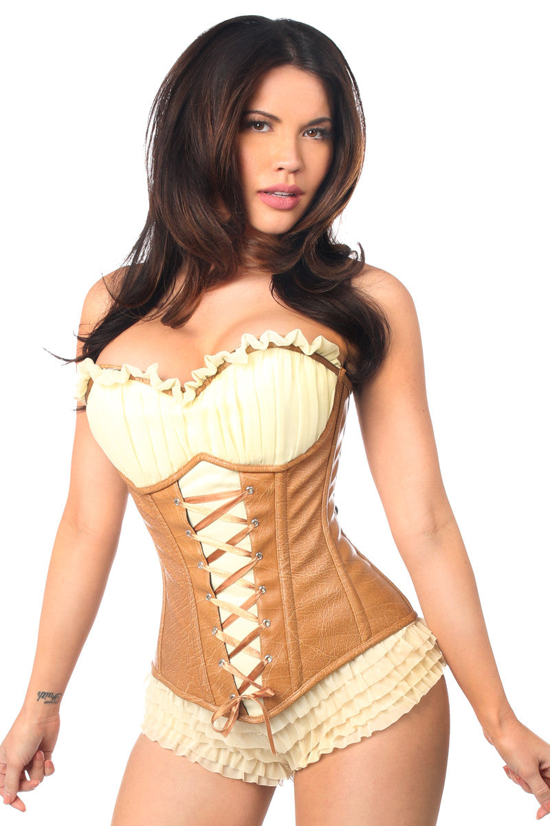 Top Drawer Faux Leather Steel Boned Ren Faire Corset