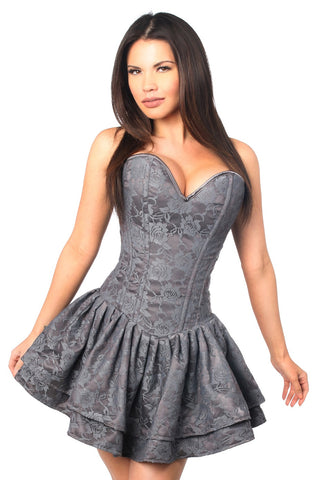 Top Drawer Steel Boned Beige Lace Empire Waist Corset Dress