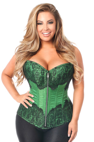 Top Drawer Elegant Green Embroidered Steel Boned Corset