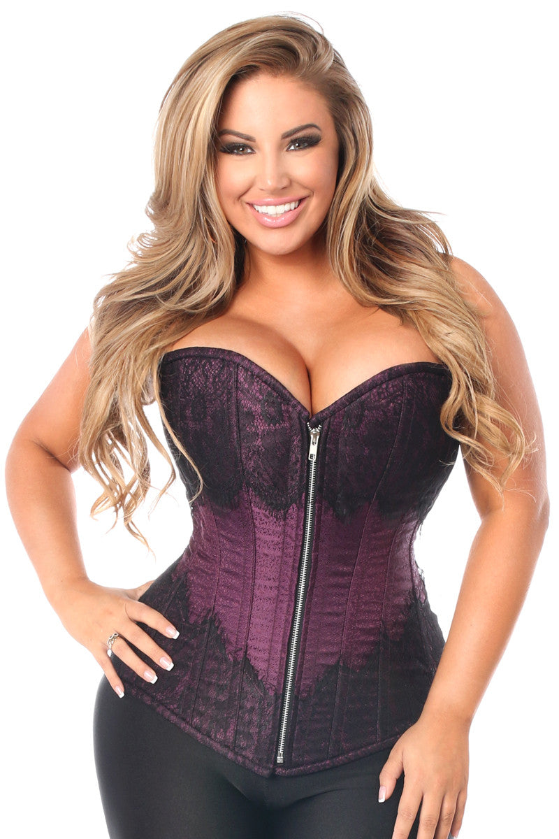 Top Drawer Plum Brocade Steel Boned Corset w/Black Eyelash Lace