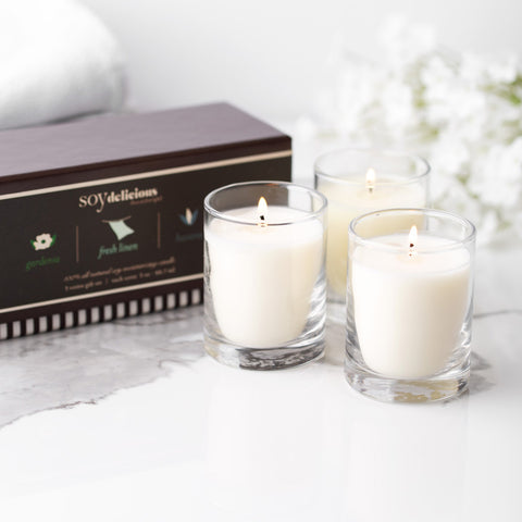 VOTIVES GIFT SET {GARDENIA, FRESH LINEN, HAVANA}