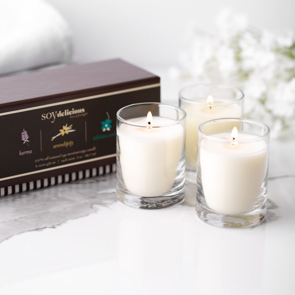 SOY DELICIOUS VOTIVE CANDLES GIFT SET {KARMA, SERENDIPITY, TAHITIAN ORCHID}