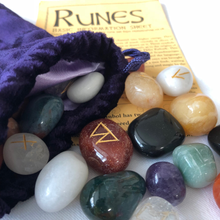 Load image into Gallery viewer, Divining:- Multi-Coloured Crystal Rune Set & Bag