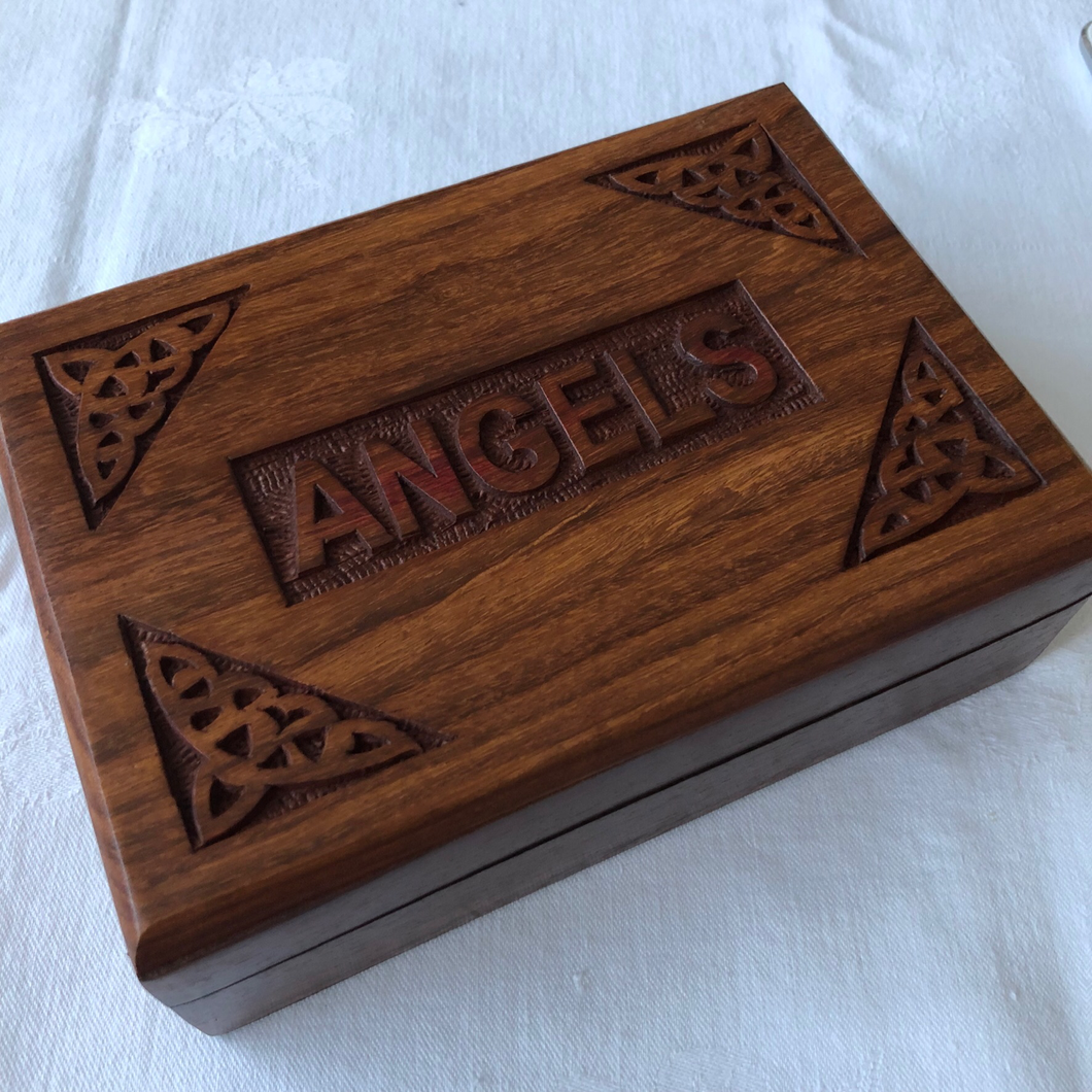 Wooden Box: Angel - Card Deck/Storage Box