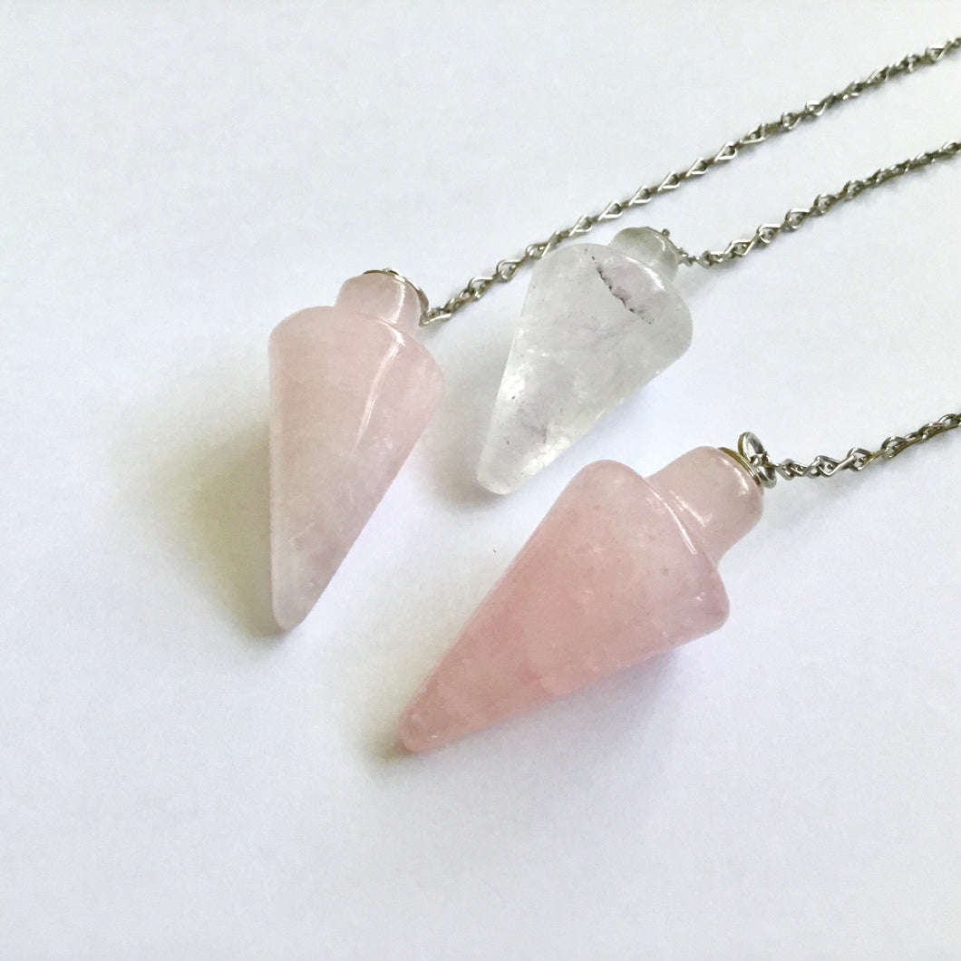 Polished Crystal Dowsing Pendulum - Rose Quartz