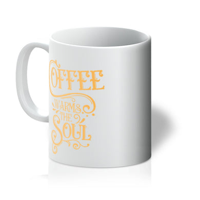 11 oz CERAMIC MUG - Coffee Warms The Soul - Coralee (Orng)
