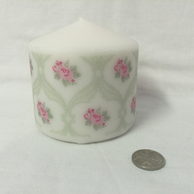 Pillar Candle - 'Lace Rose' - 15 hour burn - Hollie Cora