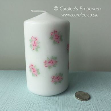 Pillar Candle - 'Rose Bud' - 25 hour burn - Hollie Cora