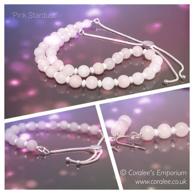 Jewellery Set: Frosted Rose Quartz/Sterling Silver - 'Pink Stardust'
