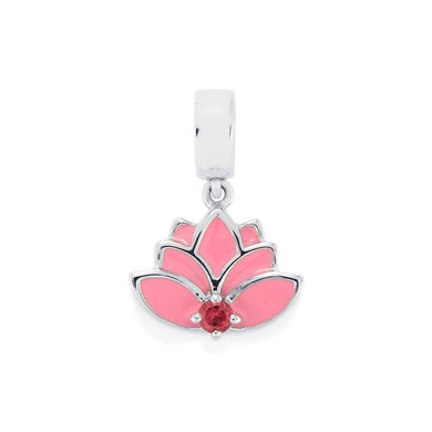 Pendant: Pink Tourmaline Lotus Charm - Sterling Silver:- 0.12ct