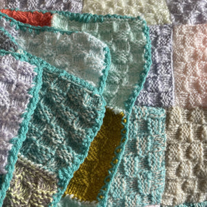 Hand Knitted Patchwork Blanket  - Winter Sunsets  - Small -  Artisan