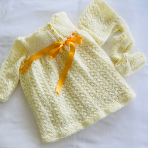 Hand Knitted - Baby Layette Set - Lemon - 6/9 months - Artisan
