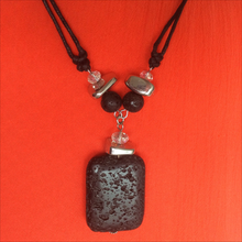 Load image into Gallery viewer, Necklace: Lava Stone Pendant & Metal Beads - Fashion Jewellery - Genuine Gemstone
