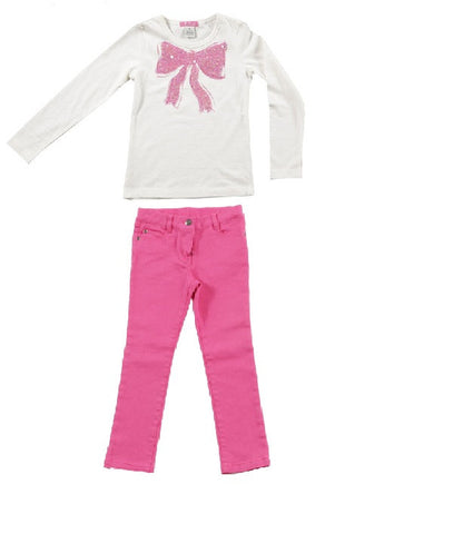 E Land Pink Jeans and Sequin Bow Top