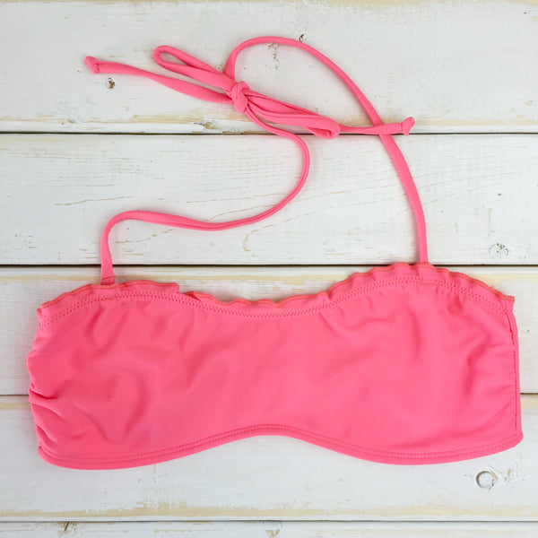 Coral Ruffle Bandeau Top
