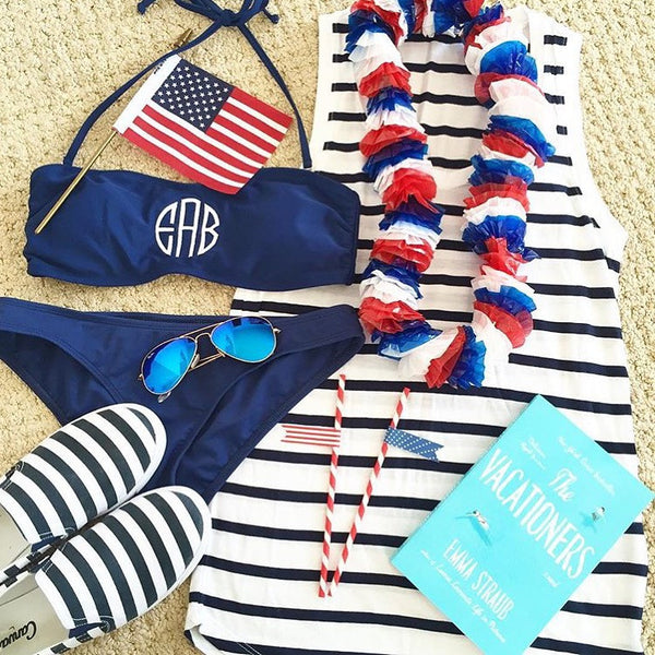 Navy Bandeau Top