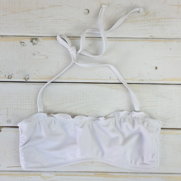 White Ruffle Bandeau Top