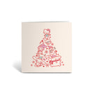 Greeting Card - Individual - Mixed Character Christmas Tree - Red