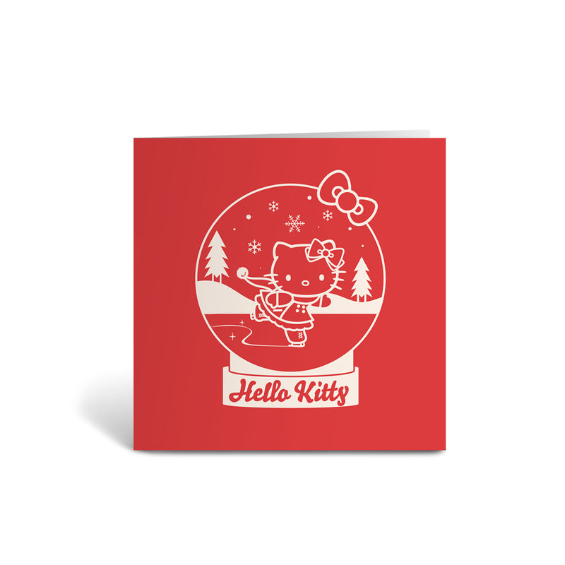 Hello Kitty Greeting Card - Individual - Snow Globe - Red