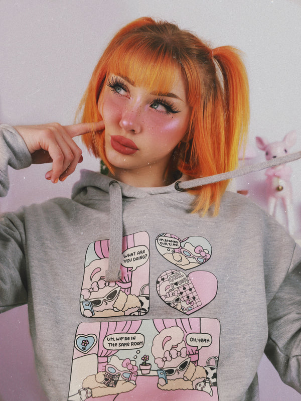 Hello Kitty x Esther Bunny Comic Strip Grey Hoodie Dress