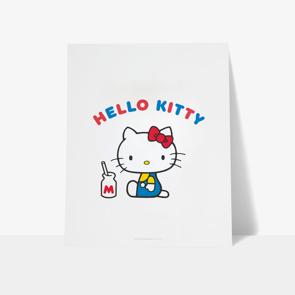 Hello Kitty Milk Bottle Personalised Art Print