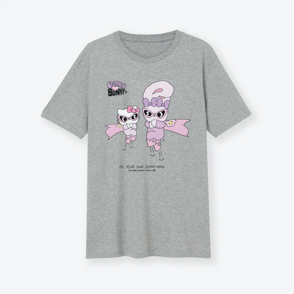 Hello Kitty x Esther Bunny Be Your Own Superhero Grey T-Shirt Organic Cotton