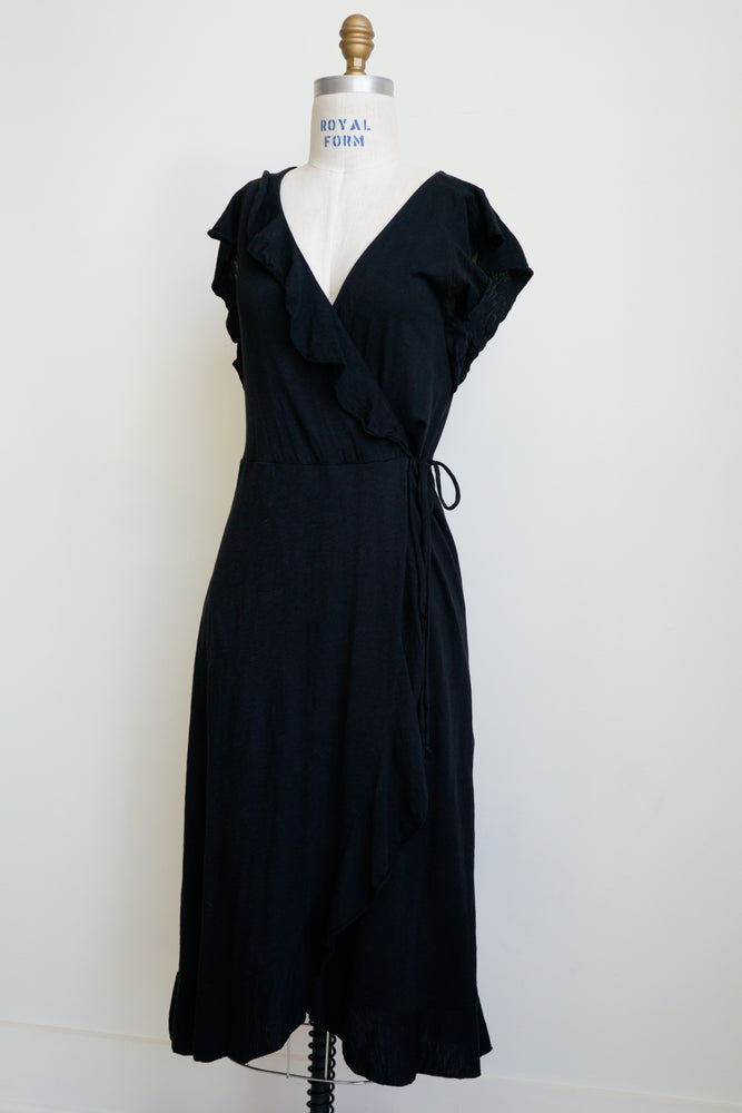 Velvet Ruffle Wrap Dress
