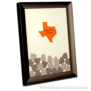 State Center Drop in Hearts Wedding Guest Book