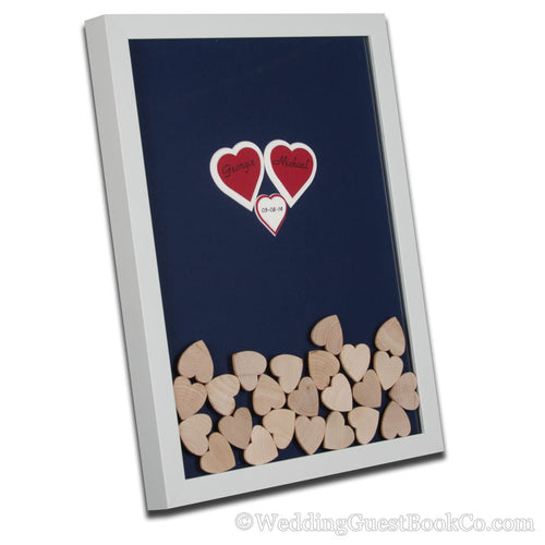 Triple Center Heart Drop in Hearts Wedding Guest Book