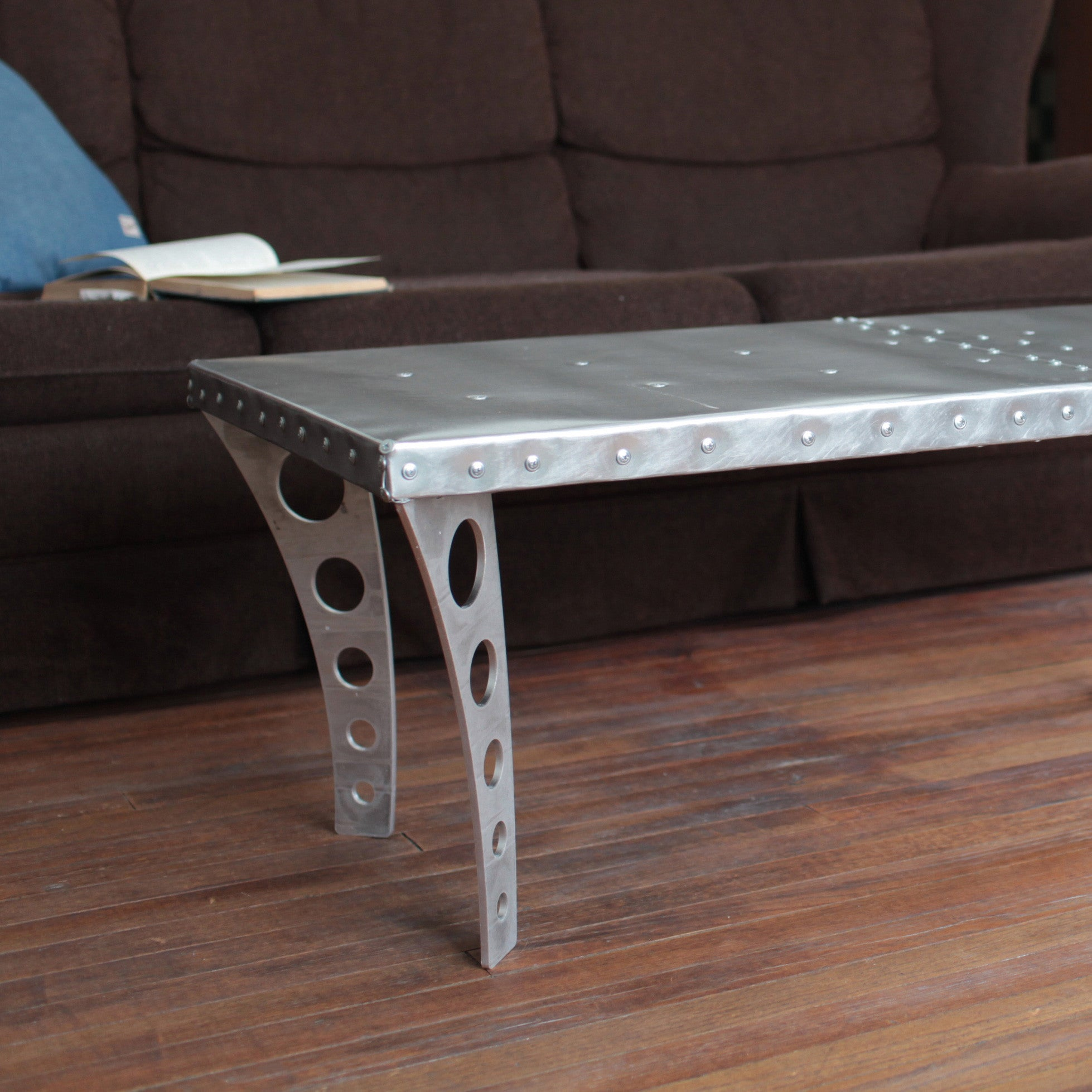 Brushed Finish JetSet Coffee Table Aluminum