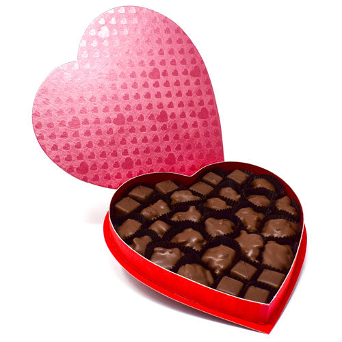 Heart Box Milk Chocolate Gremlins and Caramels 1 lb