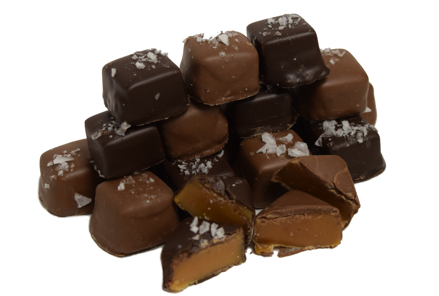 Caramels Sea Salt Milk & Dark Chocolate 8 oz