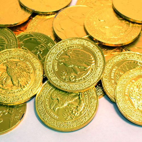 Solid Milk Chocolate 3 Gold Buffalo Coin