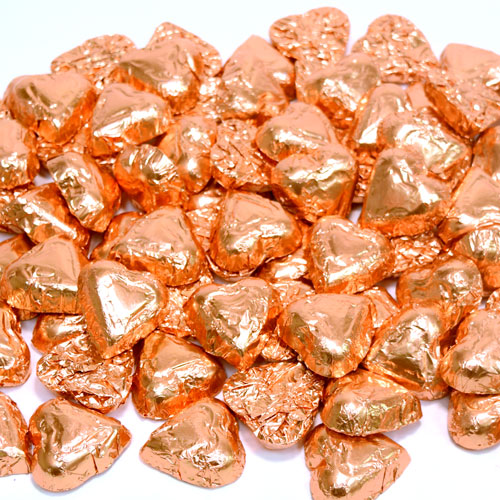 Solid Dark Chocolate Mini Bronze Hearts