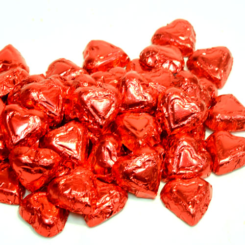Solid Milk Chocolate Mini Red Hearts