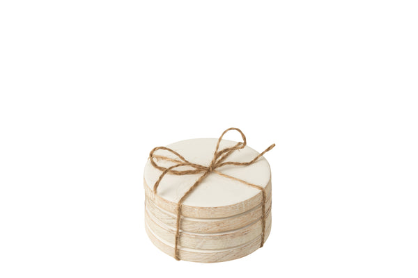 Wooden coasters white set of 4