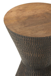 Stool mango wood hourglass shape