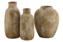 Load image into Gallery viewer, Vase round embossed stripes ceramic ochre