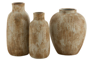 Vase round embossed stripes ceramic ochre