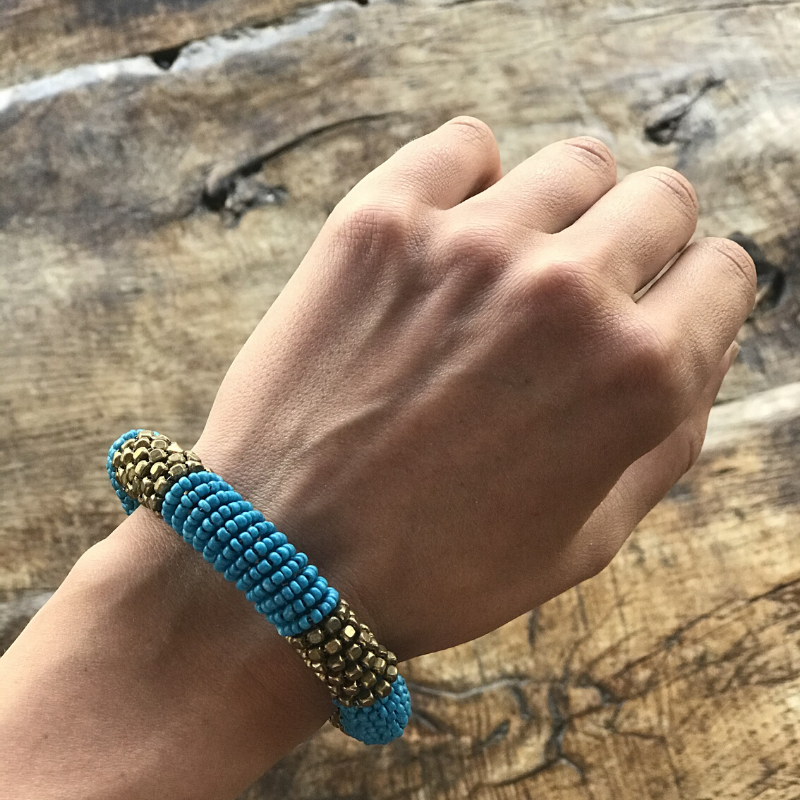 Namibian fair trade bracelet blue / gold - Zetuké Home Decor