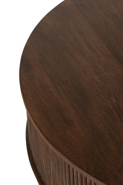 Round coffee table dark wood ridges