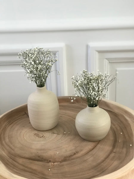 Beige vase with white dried flowers set of 2